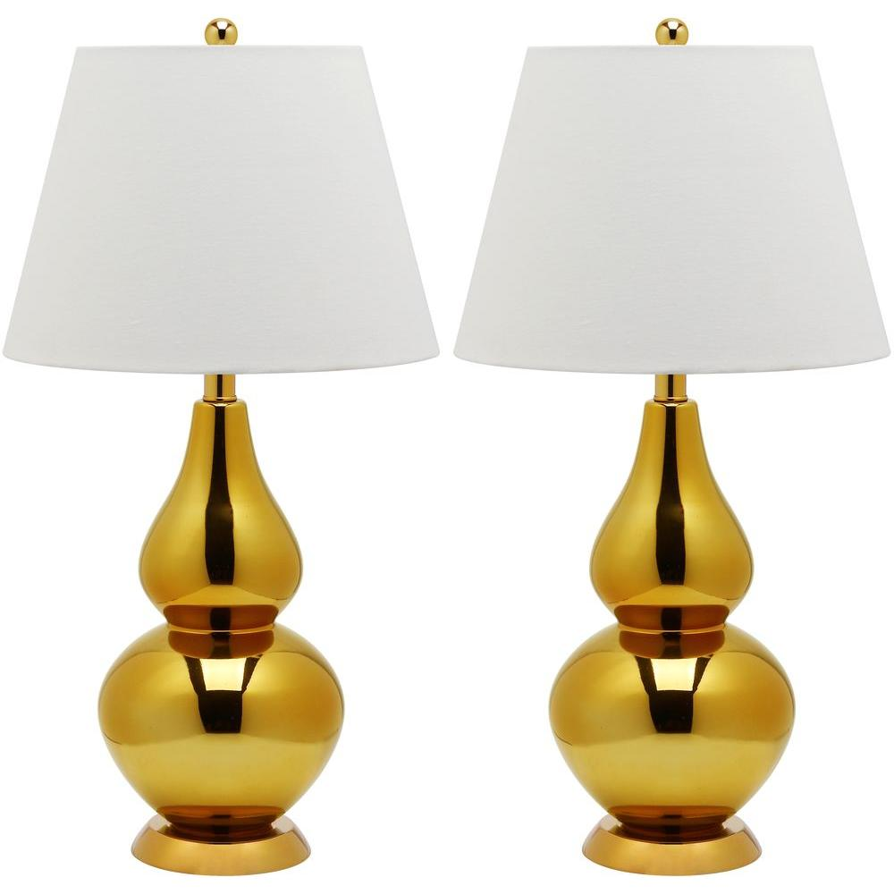 Cybil 26.5 in. Gold Double Gourd Glass Lamp (Set of 2)