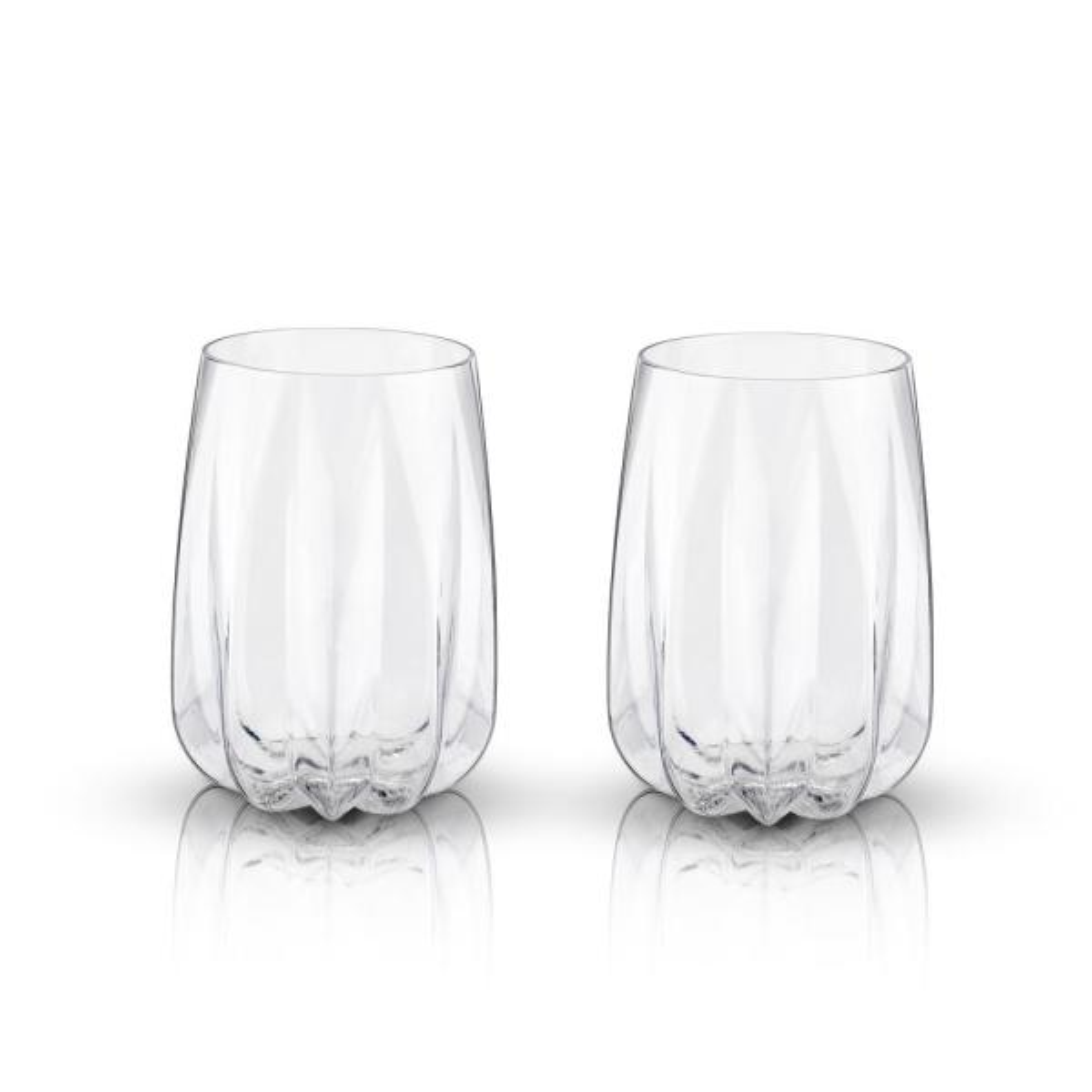 Viski 2-Piece Crystal Cactus Wine Glass Set 5317