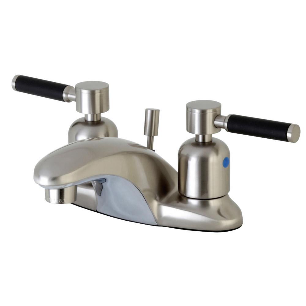 Kingston Brass Kaiser 4 in. Centerset 2-Handle Bathroom Faucet in Brushed Nickel