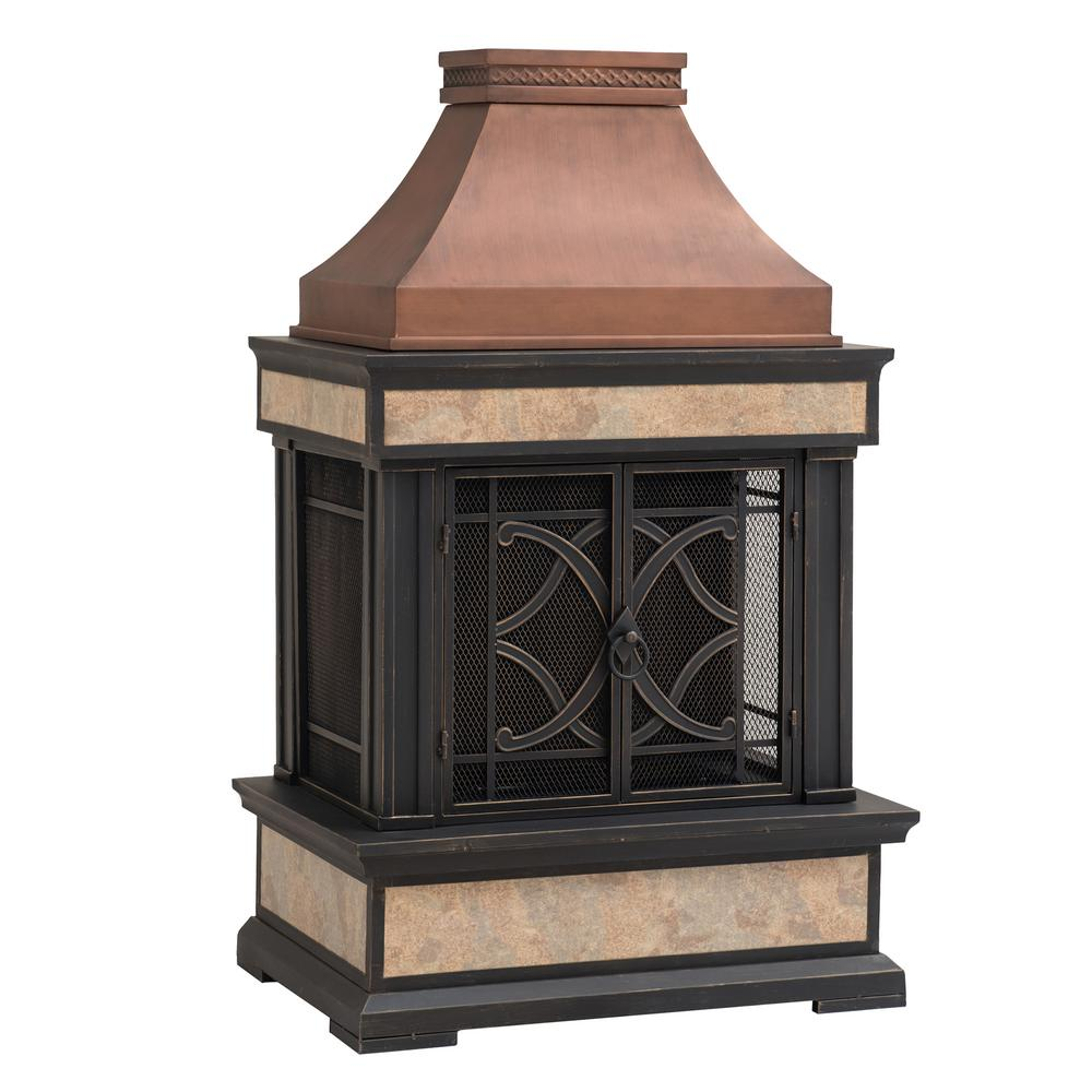 Sunjoy Curtis 56 69 In Wood Burning Outdoor Fireplace In Brown 169476 The Home Depot