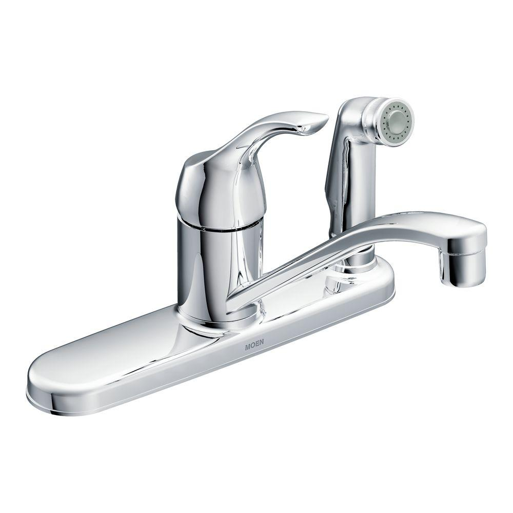 MOEN Adler Single Handle Low Arc Standard Kitchen Faucet With Side Sprayer  In Chrome