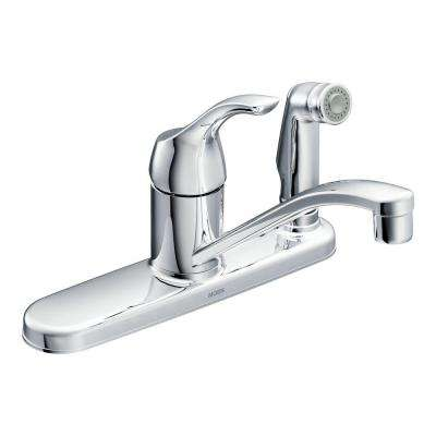 Adler Single-Handle Low Arc Standard Kitchen Faucet with Side Sprayer in Chrome