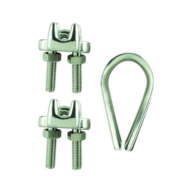 Sterling 3 Wire Rope Clamps /& 1 Thimble 5mm BZP