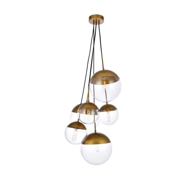 Timeless Home Eden 6-Light Brass Pendant with 8 in./12 in. W x 7.5 in./11.5 in. H Clear Glass Shade