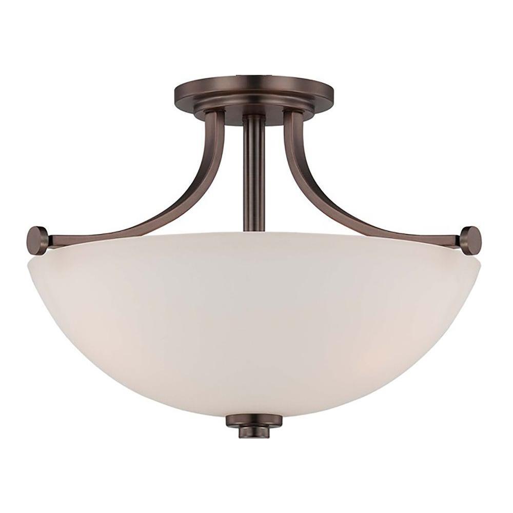 3-Light Hazel Bronze Semi-Flush Mount Light with Frosted Glass Shade