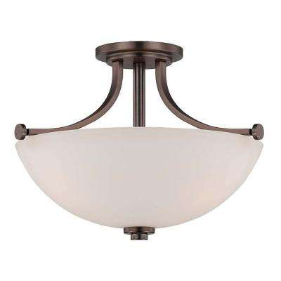 3-Light Hazel Bronze Semi-Flush Mount Light with Frosted Glass Shade