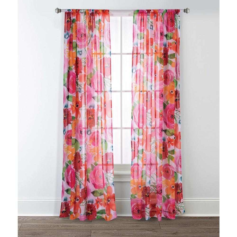 L Polyester Fl Sheer Window Panel In Pink