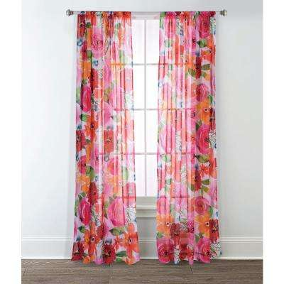 Santa Monica 84 in. L Polyester Floral Sheer Window Panel in Pink/Red (2-Pack)