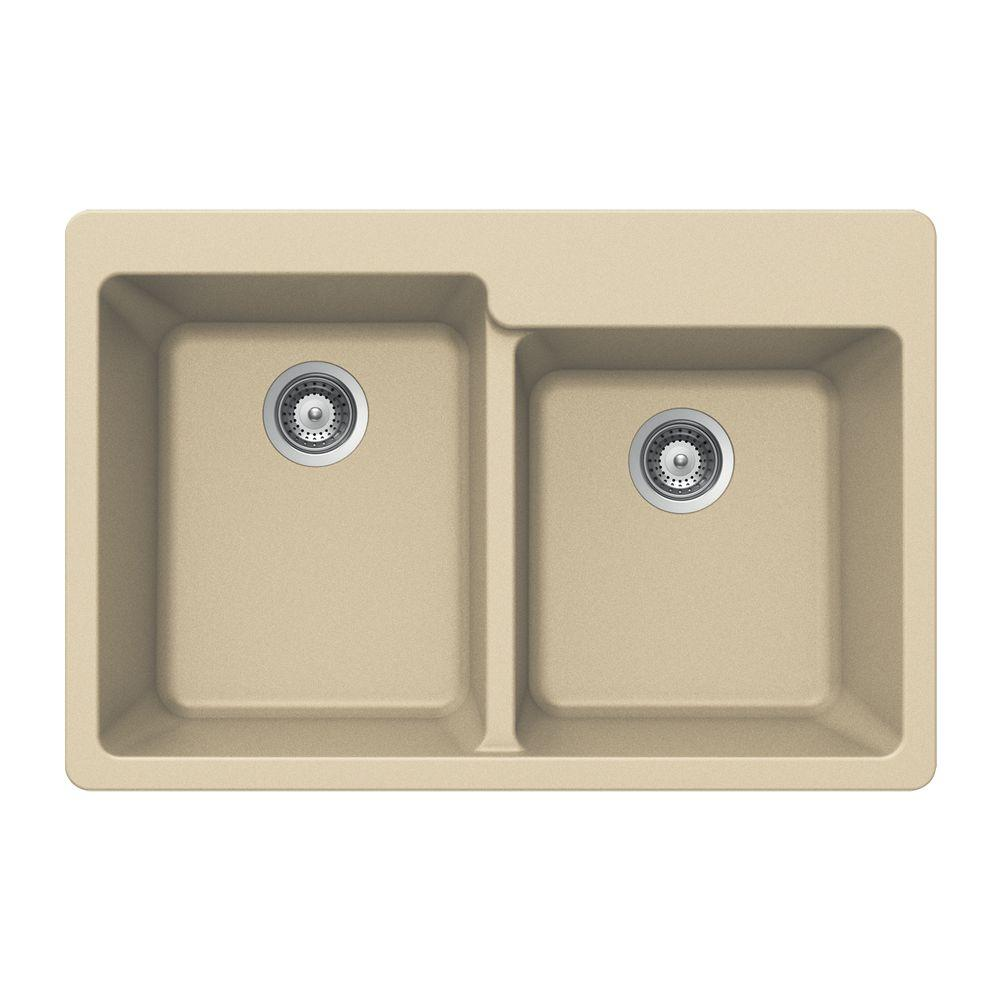 Quartztone Drop-In Composite Granite 33 in. 2-Hole Double Bowl Kitchen Sink