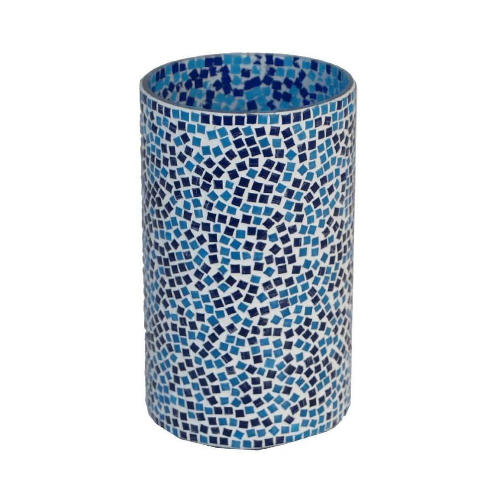 Home Decorators Collection 6.75 in. H Blue Mosaic Candleholder