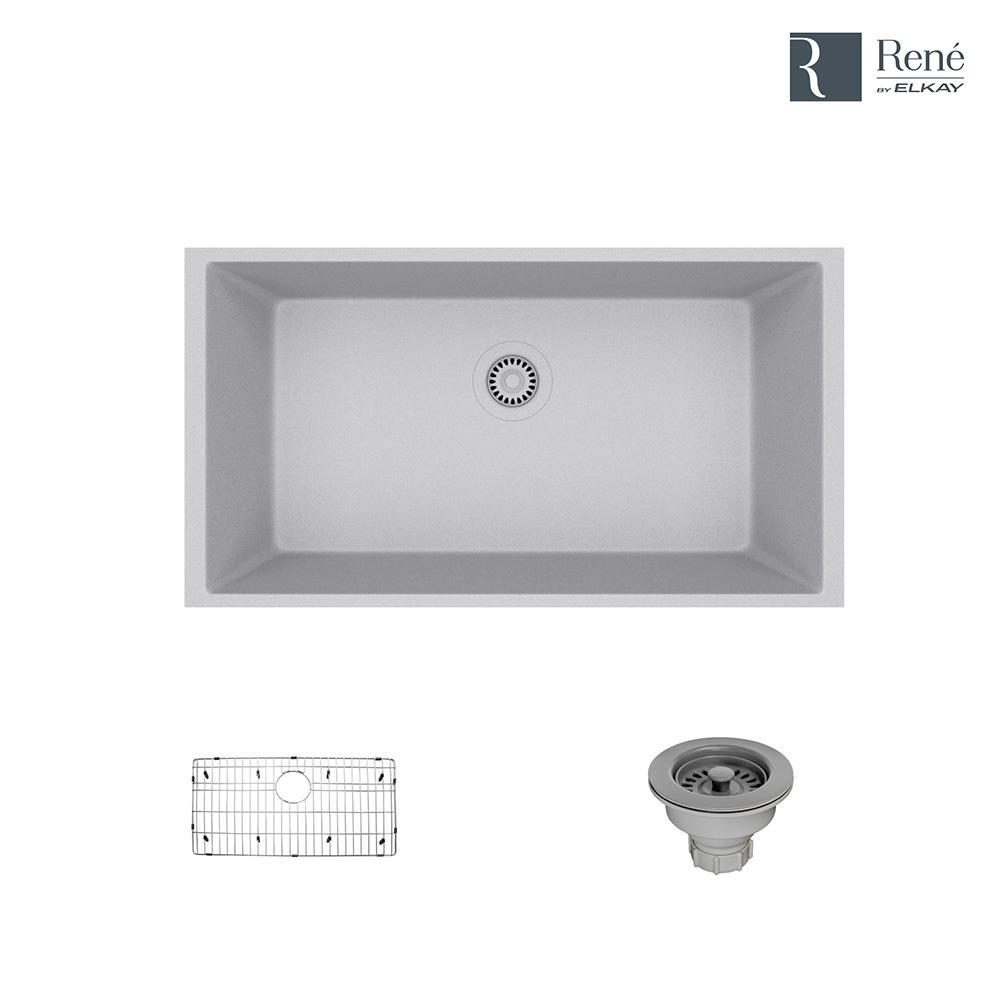 Undermount Composite Granite 32-5/8 in. Single Bowl Kitchen Sink in Pewter