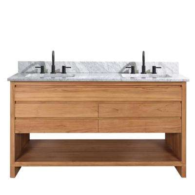 Kai 61 in. W x 22 in. D x 35 in. H Bath Vanity in Natural Teak with Marble Vanity Top in White and White Basin