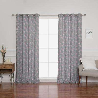 Hibiscus Blossom 52 in. W x 84 in. L Curtains in Grey (2-Pack)