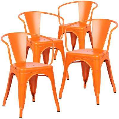 Bon Cantina Orange Arm Chair (Set Of 4)