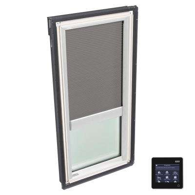 22-1/2 in. x 45-3/4 in. Fixed Deck-Mount Skylight with Tempered Low-E3 Glass and Grey Solar Powered Room Darkening Blind
