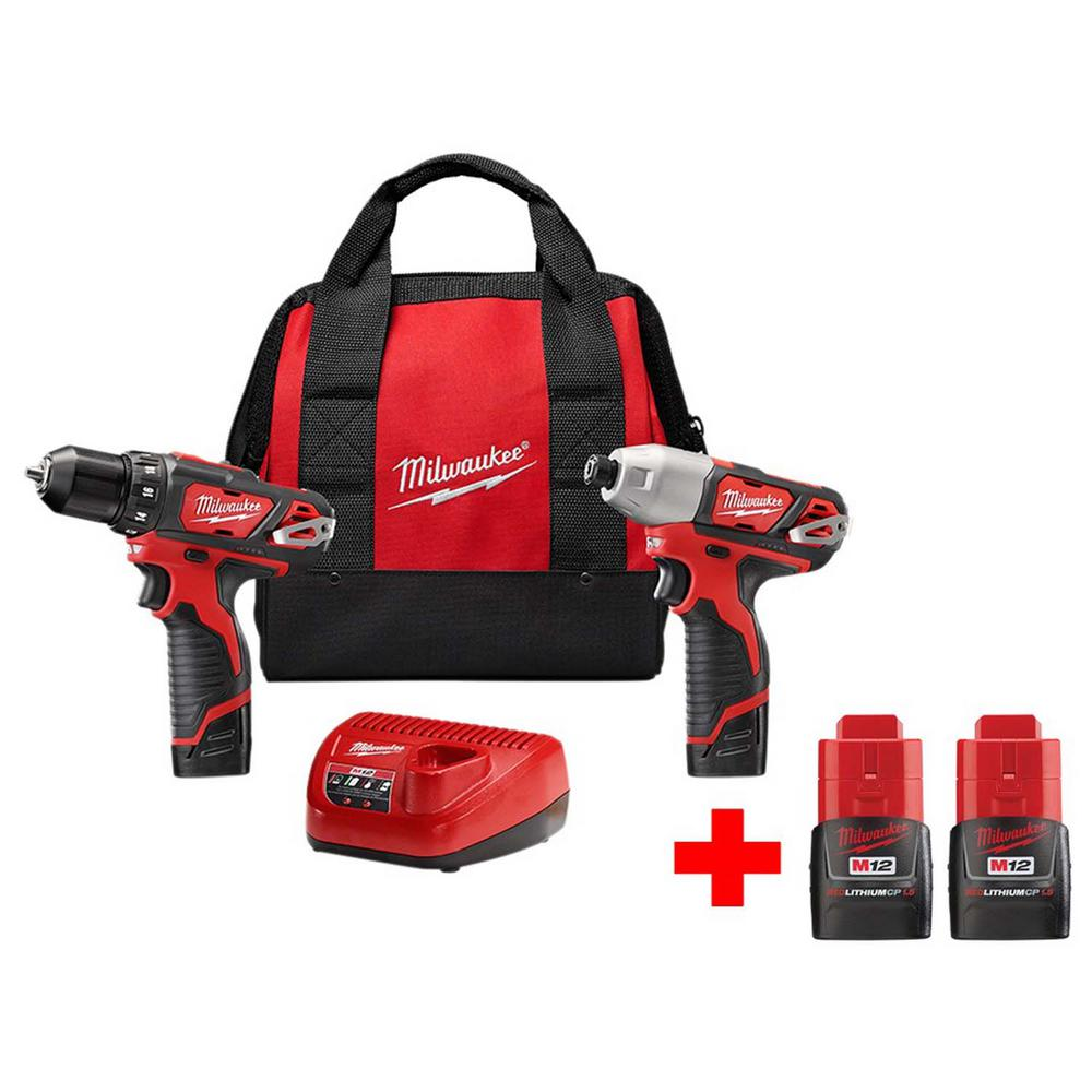Milwaukee M12 12-Volt Lithium-Ion Cordless Drill Driver/Impact Driver Combo Kit (2-Tool) With Two Free M12 1.5Ah Batteries