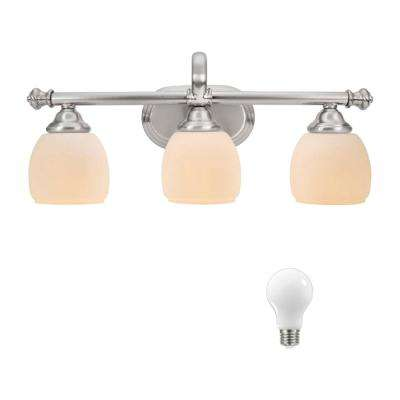 Cedar Cove 3-Light Brushed Nickel Vanity Light with Etched Opal Glass Shades, Dimmable LED Soft White Bulbs Included