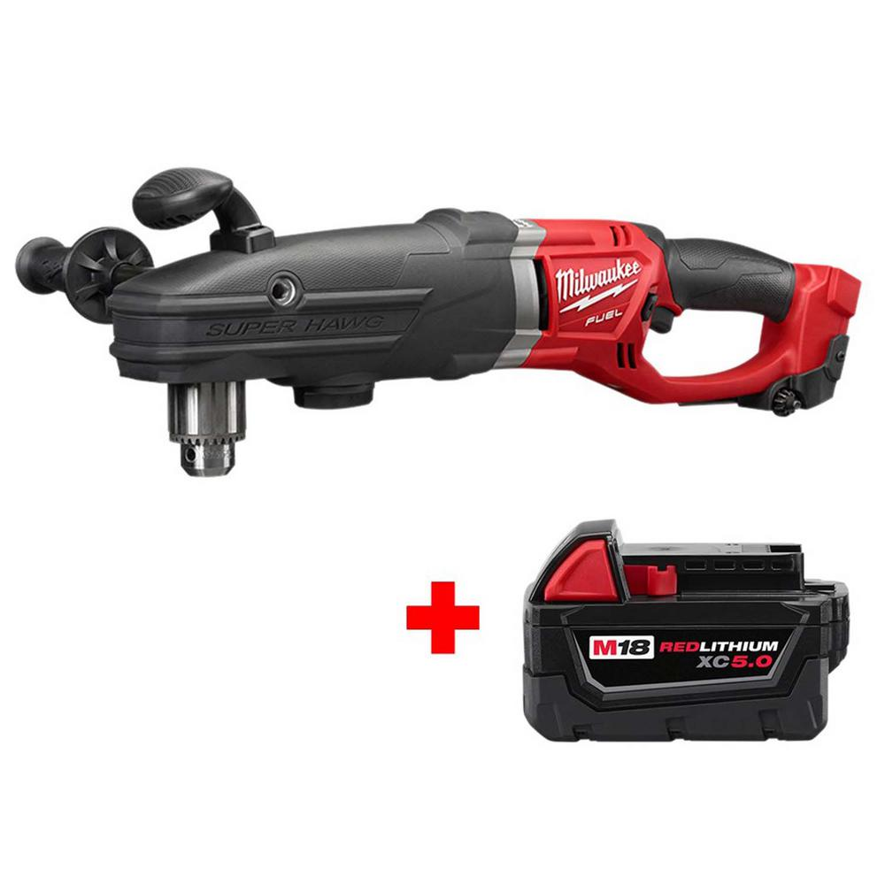 Milwaukee M18 FUEL 18-Volt Lithium-Ion Brushless Cordless Super Hawg 1/2 in. Right Angle Drill with Free M18 5.0Ah Battery