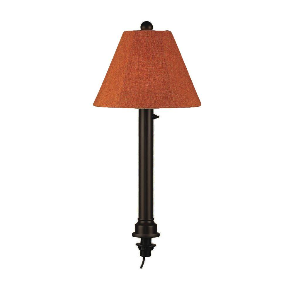 Catalina 28 in. Outdoor Black Umbrella Table Lamp with Chile Linen