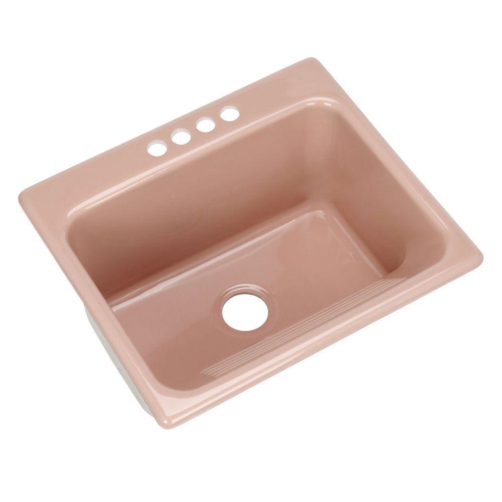 Kensington Drop-in Acrylic 25 in. 4-Hole Single Bowl Utility Sink in Wild Rose