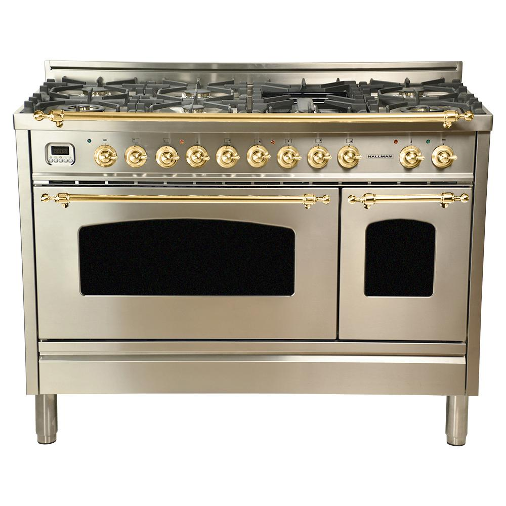 Hallman 48 in. 5.0 cu. ft. Double Oven Dual Fuel Italian Range True Convection,7 Burners, Griddle,Brass Trim in Stainless Steel