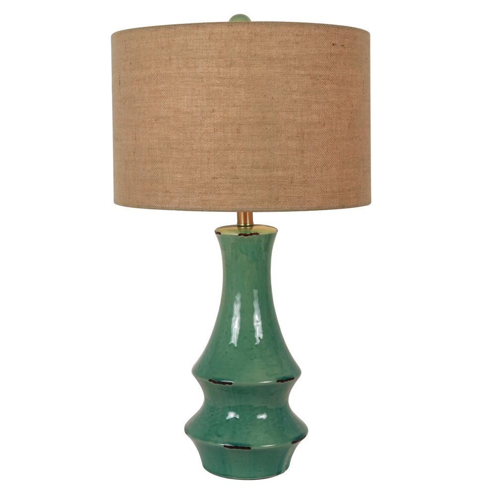 Decor Therapy Callie 30 In Turquoise Ceramic Table Lamp With Shade