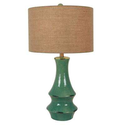 Callie 30 in. Turquoise Ceramic Table Lamp with Shade