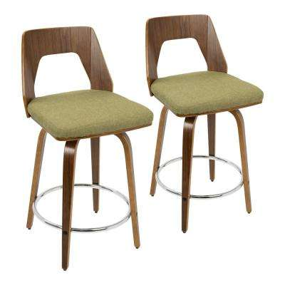 Trilogy 24 in. Walnut and Green Fabric Counter Stool (Set of 2)