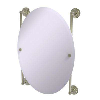 Que New Collection Oval Frameless Rail Mounted Mirror in Polished Nickel