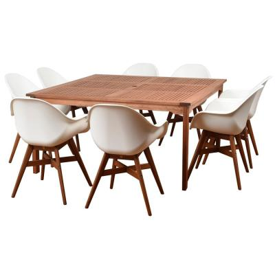 Amazonia Charlotte Deluxe 9-Piece Wood Square Outdoor Dining Set