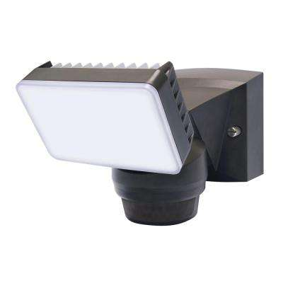 180-Degree Bronze Motion Activated Outdoor Integrated LED Flood Light with 1500 Lumens
