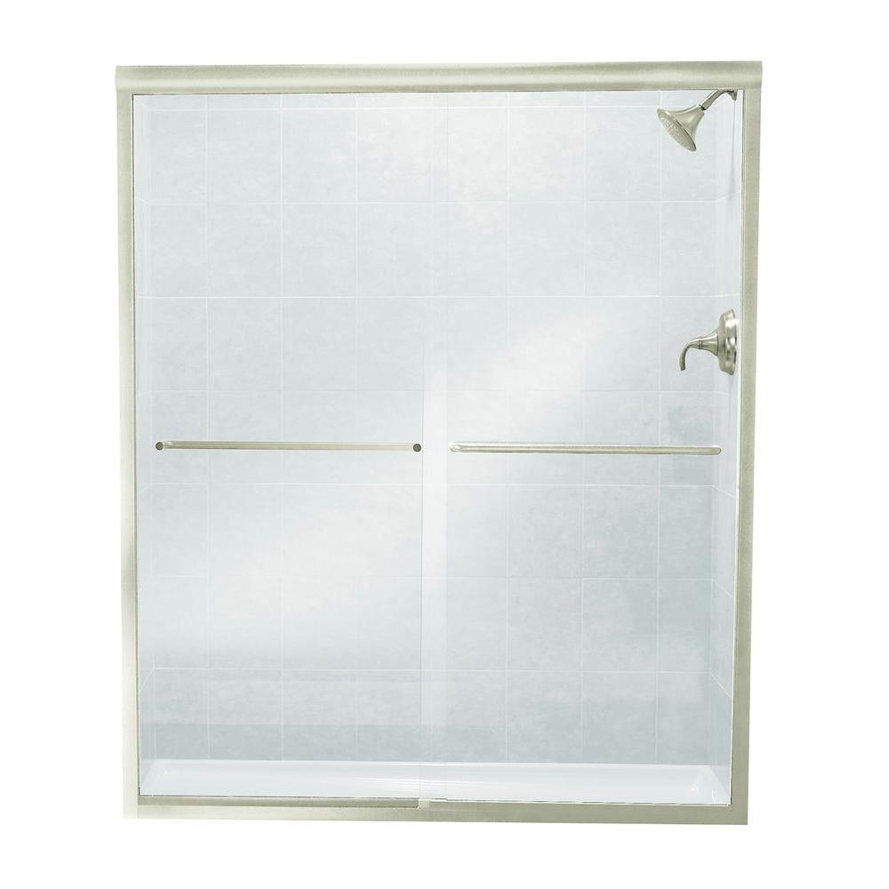 Finesse 57 in. x 70-1/16 in. Semi-Frameless Sliding Shower Door in Nickel with Handle