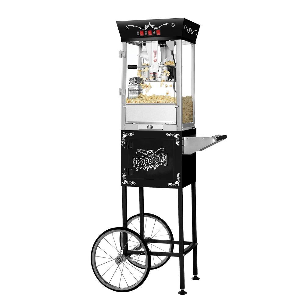 Matinee Movie 8 oz. Antique Black Popcorn Machine with Cart