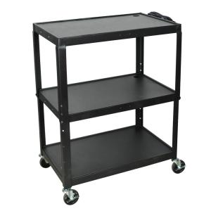 Luxor Extra Large Height Adjustable 32 inch Steel A/V Utility Cart in black by Luxor