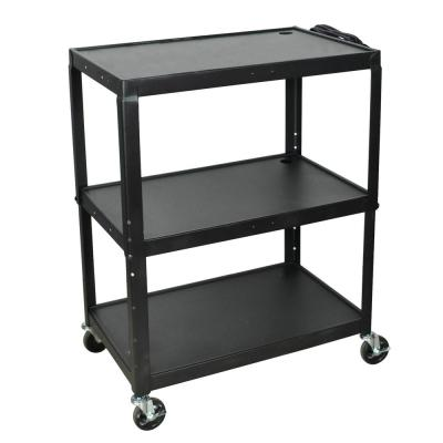 Extra Large Height Adjustable 32 in. Steel A/V Utility Cart in black