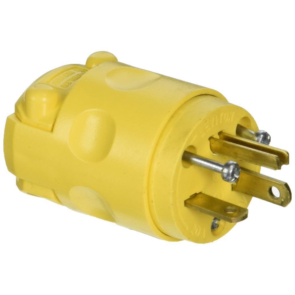 20 Amp 125-Volt 3-Wire Plug, Yellow Wiring Plug on