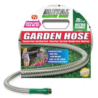 Deluxe 3/8 in. x 75 ft. Stainless Steel Metal Garden Hose
