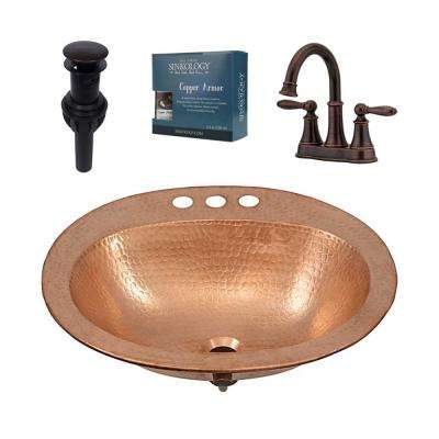 Kelvin All-in-One Drop-In Copper Bathroom Sink Design Kit with Pfister Courant Faucet and Drain in Bronze