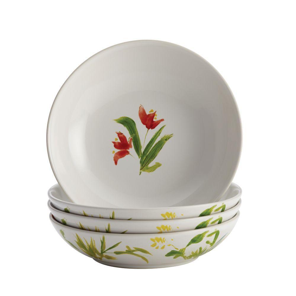 BonJour Dinnerware Meadow Rooster Stoneware 4-Piece Fruit Bowl Set 50198