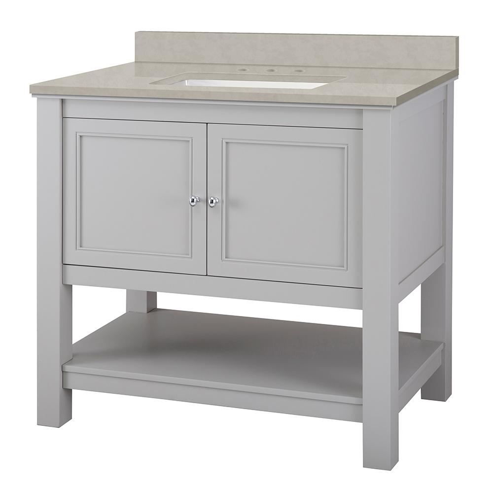 Home Decorators Collection Gazette 37 in. W x 22 in. D Vanity Cabinet in Grey with Engineered Vanity Top in Dunescape with White Sink was $778.0 now $544.6 (30.0% off)
