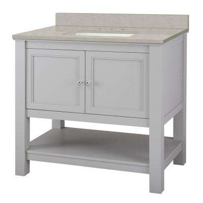Gazette 37 in. W x 22 in. D Vanity Cabinet in Grey with Engineered Vanity Top in Dunescape with White Sink