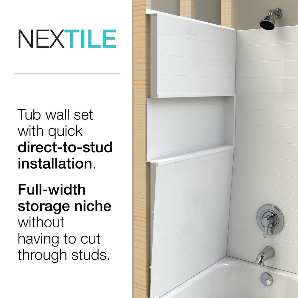 Bootz Industries Aloha Nextile 30 In X 60 In X 74 5 In Standard Fit Alcove Bath And Shower Kit With Right Hand Drain In White Btz Aloha R Nxt The Home Depot