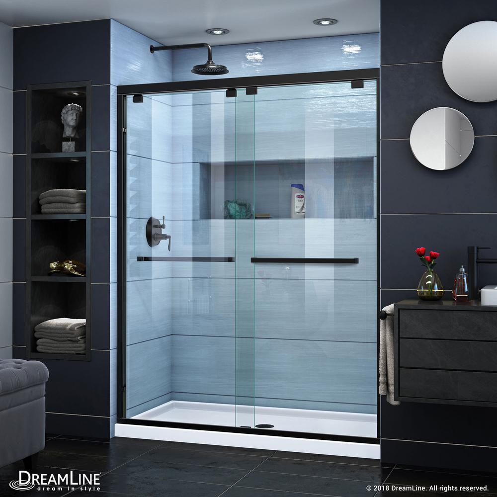 Encore 56 to 60 in. x 76 in. Semi-Frameless Sliding Shower Door in Satin Black