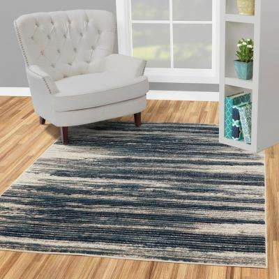 Jasmin Collection Stripes Design Ivory and Teal 5 ft. x 7 ft. Area Rug