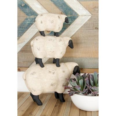 Litton Lane 3-Stacked Sheeps Polystone Sculpture in Off White
