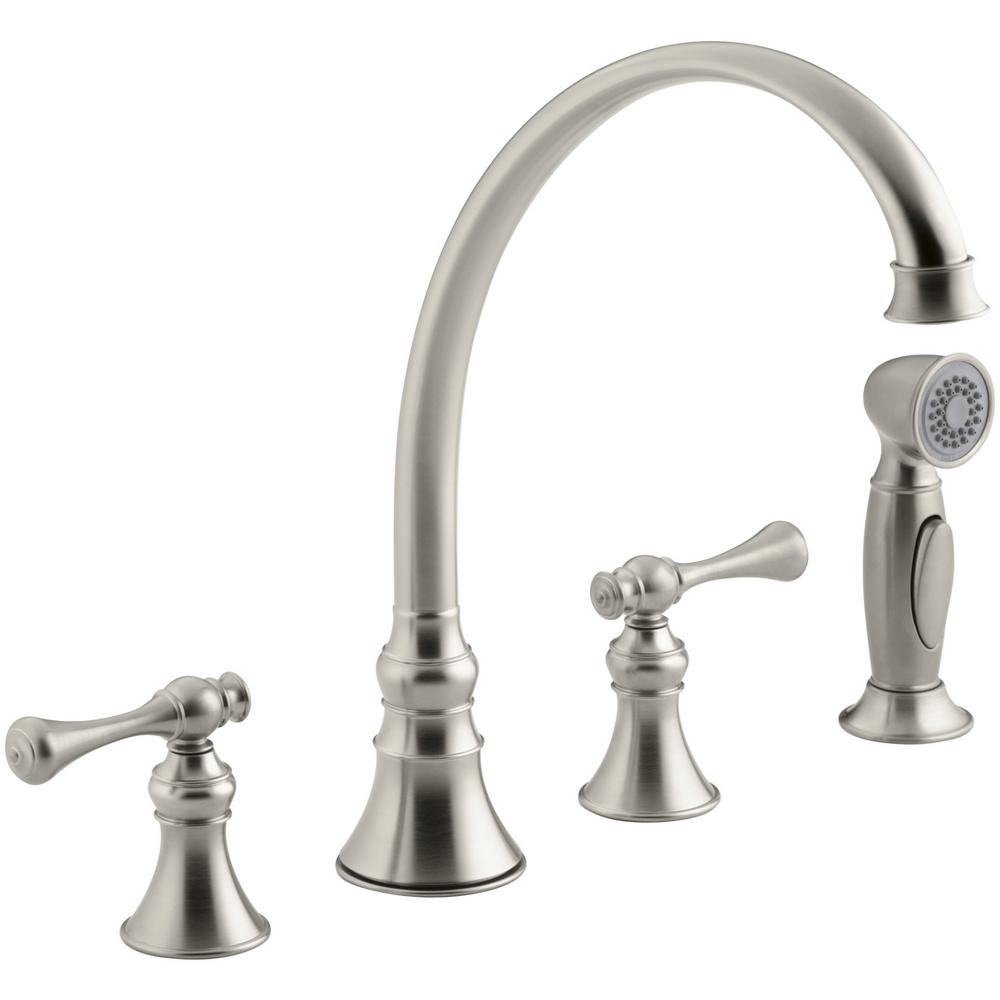 Kohler Revival 2 Handle Standard Kitchen Faucet In Vibrant Brushed Nickel