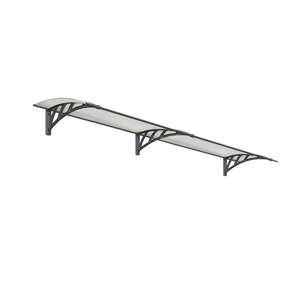 Palram Neo 2700 8 ft. 11 in. Gray/Clear Twin-wall Door Canopy Awning