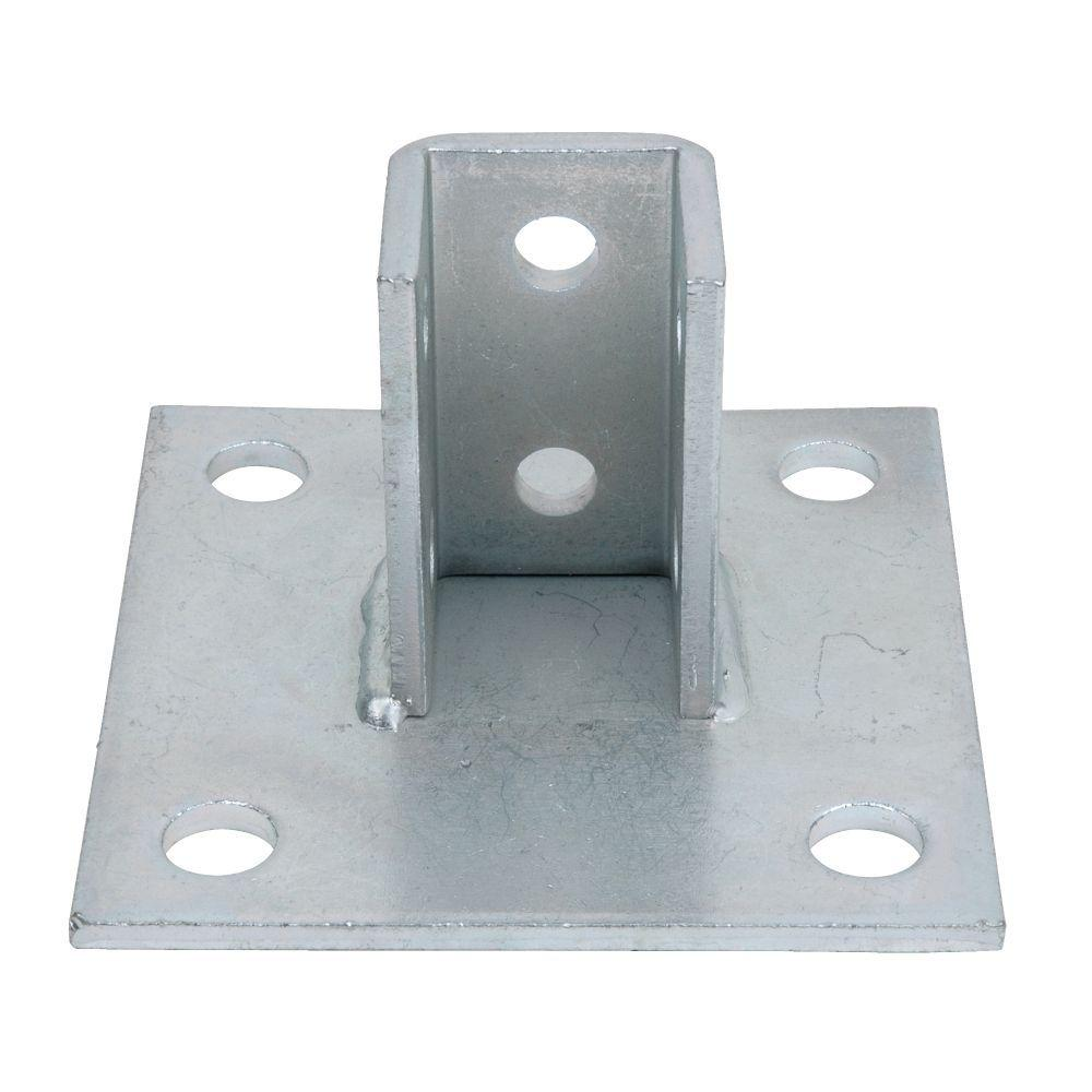 Superstrut 6 in  x 6 in  Steel Square Post Base Connector - Silver