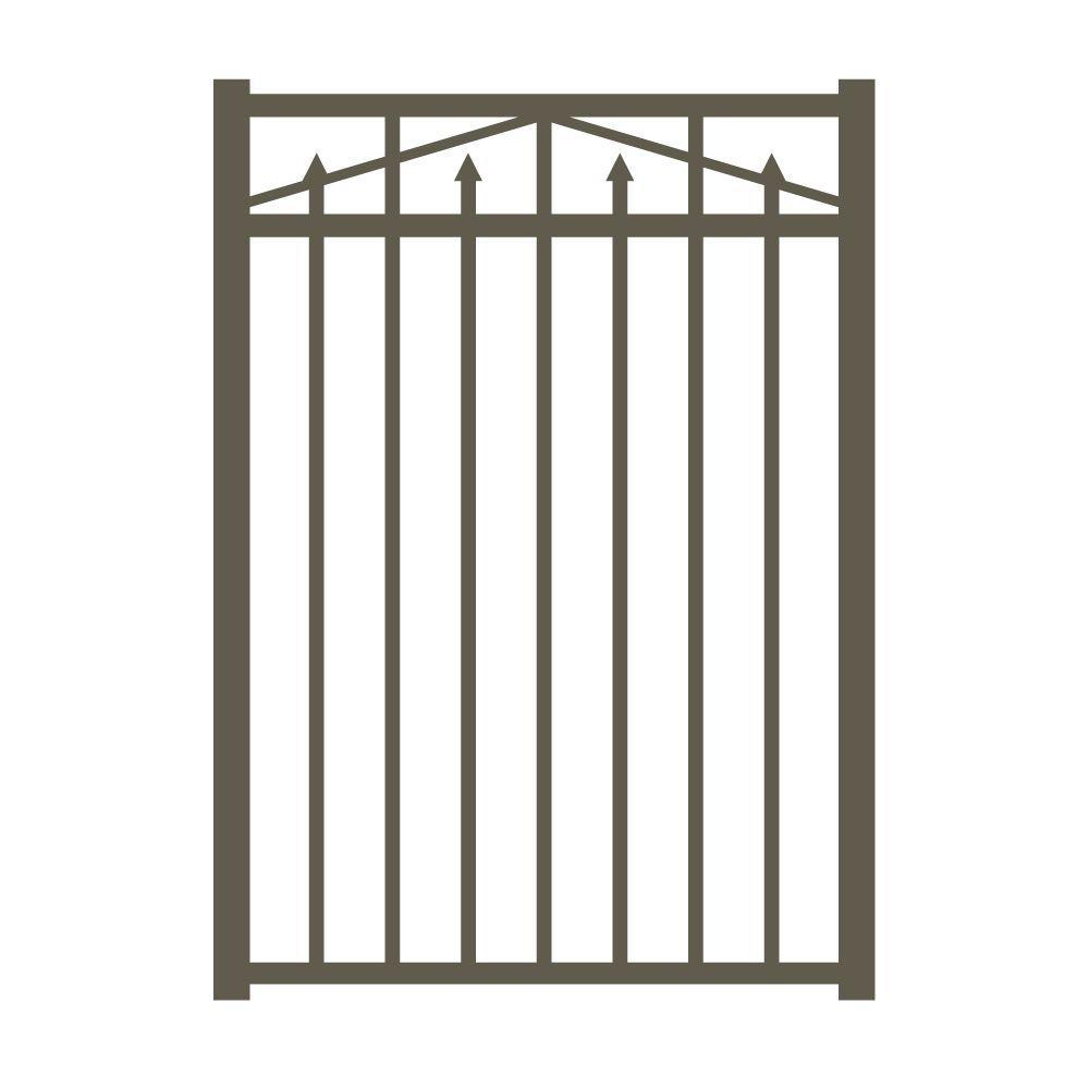 Allure Aluminum Provincial 3 ft. W x 4.5 ft. H Bronze Aluminum 3-Rail Fence Gate