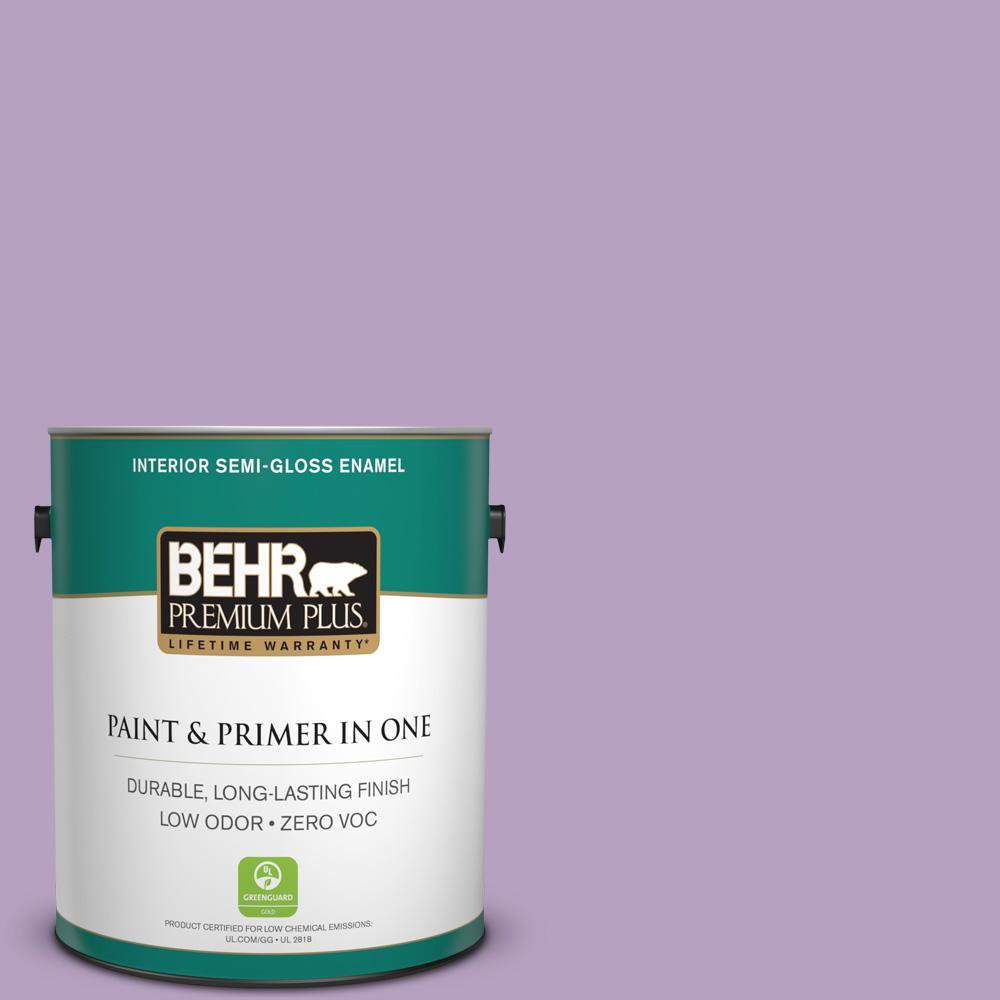 BEHR Premium Plus 1-gal. #660D-4 Lilac Rose Zero VOC Semi-Gloss Enamel Interior Paint
